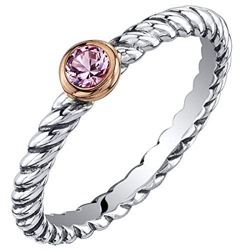 Peora Created Pink Sapphire Stackable Ring in Sterling Silver, Cable Rope Band for Women 2.1mm Size 6 (Slim Rope Style Stackable Ring)