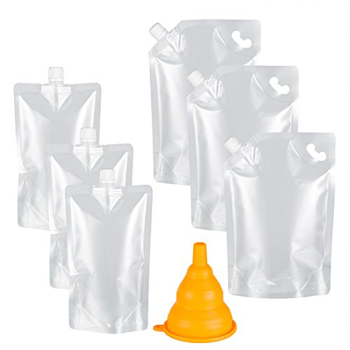 Plastic Liquor Pouches Drinking Flasks, Reusable Liquid Spout Bags, BPA Free, 3 32oz, 3 16oz, Collapsible Silicone Funnel Included, Transparent ()