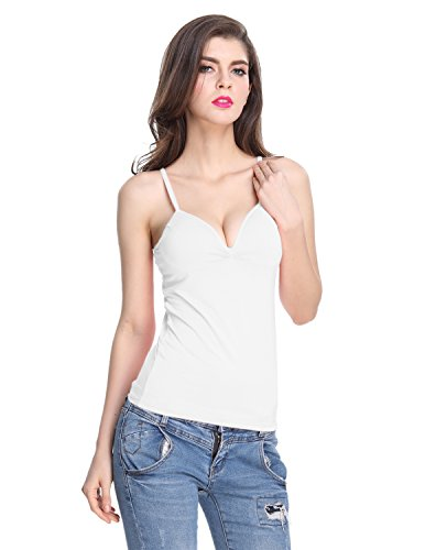 8e059e727f Shymay Women s V Neck Camisole With Build In Bra Padded Spaghetti Strap Tank  Top