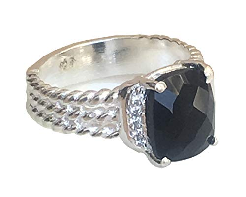 GEMPARA Inspired 10x8mm Petite Wheaton Ring with Black Onyx and Simulated Diamonds (7)