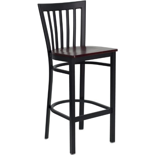 Black School House Back Metal Restaurant Barstool - Mahogany Wood Seat