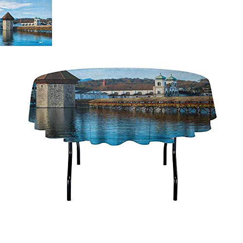 Douglas Hill Landscape Washable Tablecloth Panoramic View of Oak Chapel Bridge Northern Lands Lake European Aged City Print Dinner Picnic Home Decor D70 Inch Blue Brown]()