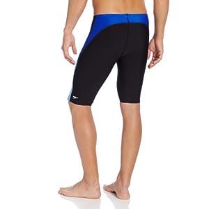 Speedo Men's Endurance+ Launch Splice Jammer Swimsuit, Black/Blue, 34