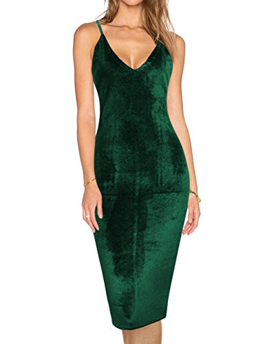 Green Velvet Dress (GloryStar Women's Evening Sexy Spaghetti Strap Backless Bodycon Club Midi Velvet Dress (M, Green))