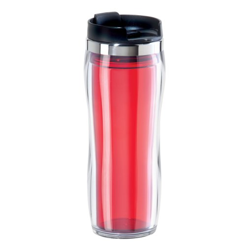 Oggi 8065.2 Fusion Double Walled Acrylic Travel Mug with Removable Tea Infuser, Red