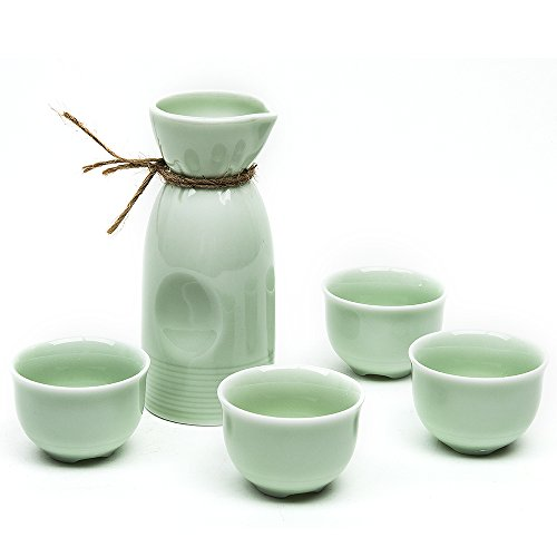 - Japanese Sake Set, 5 Pieces Sake Set with Bamboo Cup Clip Celadon Hand Painted Design Porcelain Pottery Traditional Ceramic Cups Crafts Wine Glasses (Green)