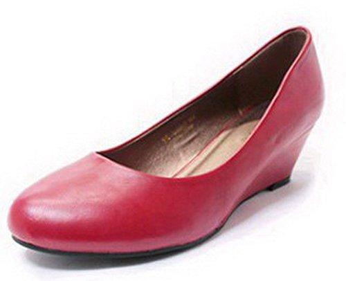 AalarDom Mujer Sin cordones Puntera Redonda Tacón Medio Pu Sólido De salón Rojo