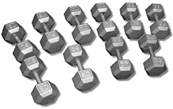 Hex Dumbbell Set- 5-30, 40, 50lb w Rack