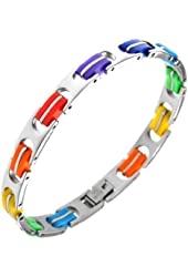 Gay Pride Rainbow Colored Bracelet - High Quality Stainless Steel Bracelet - Love Jewelry