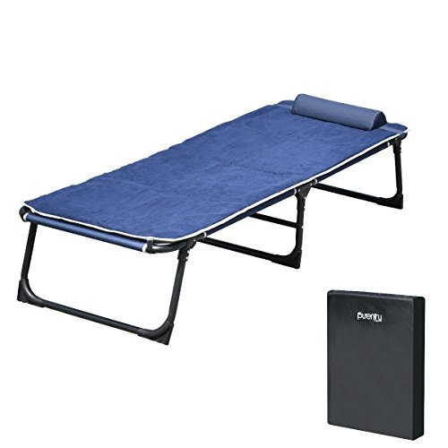 Storage 72' Closet (Purenity Comfort Folding Military Bed Camping COT Set With Free Mat and Storage Bag (Navy Blue))