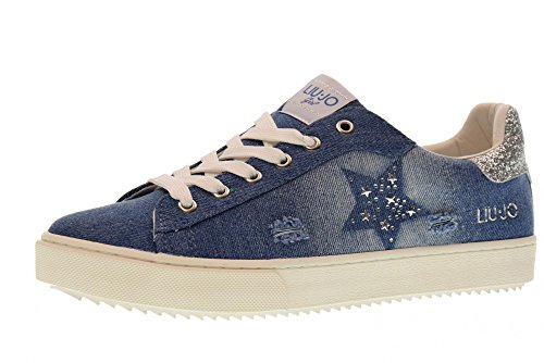 LIU JO GIRL Shoes Woman Low Sneakers L3A4-00080-0033804 Size 36 Jeans 8772da190b4