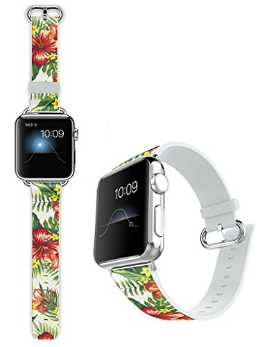 Dseason For Apple Watch Band 38mm Leather, Soft Leather Sport Style Replacement iWatch Strap for Apple Wrist Watch Series 1 Series 2 Series 3 38mm Models Hawaiian Tropical Prints