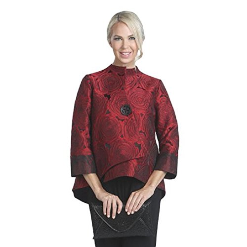IC Collection Jacquard Asymmetric Jacket in Red - 5145J (XL) by IC Collection