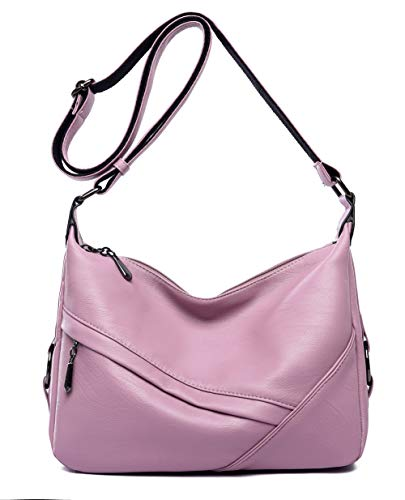 (Women's Retro Sling Shoulder Bag from Covelin, Leather Crossbody Tote Handbag Light Purple)