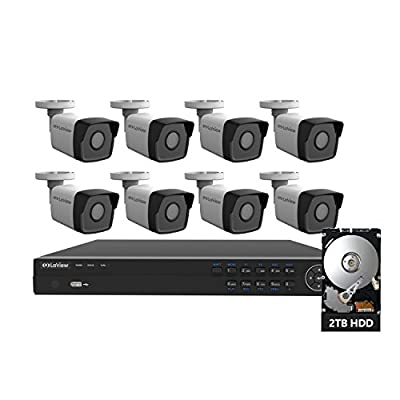 LaView 8 Channel Full HD 1080P Business and Home Security Camera System 6x PoE Weatherproof Dome IP Cameras with HD 2TB Surveillance NVR from LaView