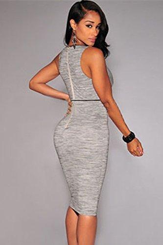 Pour femme Gris chiné col en V Robe club wear fête décontracté Taille UK 10–12–EU 38–40