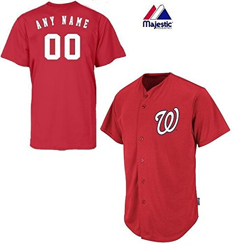 Majestic Mlb Custom Replica Jerseys - Washington Nationals Full-Button CUSTOMIZED (Any Name & Number on Back) Major League Baseball Cool-Base Replica MLB Jersey