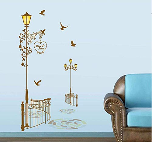 - JQSM Retro Street Lights Pigeon Trail Vinyldecor Mural Decal Wall Stickers Wall Paper Store Wallpaper Free 95 160Cm