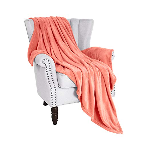 "Exclusivo Mezcla Flannel Fleece Velvet Plush Soft Throw Blanket - 50"" x 60"" (Coral)"