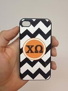 (130bi5) Custom Greek Life Chi Omega Sorority iPhone 5 Black Case Black Zigzags