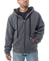 Jvini Men's Full Zipper Front Sherpa Fleece Lining Hooded Sweatshirts Charcoal 4X-Large