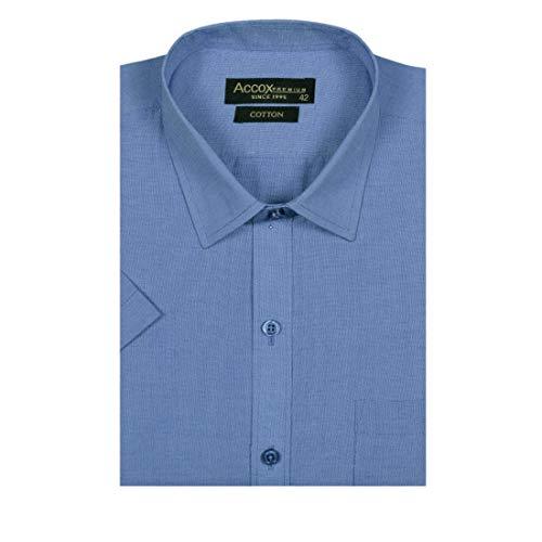 ACCOX Men's Half Sleeves Formal Regular Fit Cotton Plain Shirt(Blue,GC209)