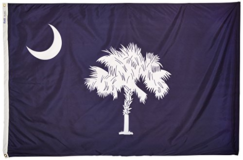 Annin Flagmakers Model 144870 South Carolina State Flag 4x6 ft. Nylon SolarGuard Nyl-Glo 100% Made in USA to Official State Design Specifications.