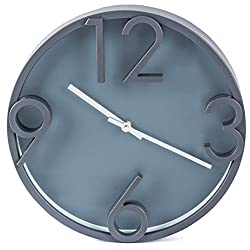 Bernhard Products Large Modern Wall Clock, 12 Gray Quality Quartz Battery Operated Round Decorative Elegant Home Clock