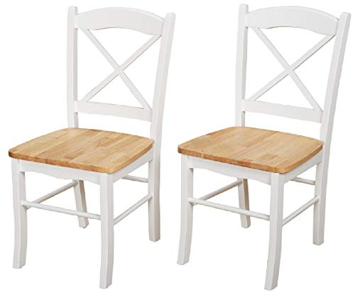 - Target Marketing Systems Inc. Simple Living Country Cottage Rustic Cross Back Rubber Wood Kitchen Durable Dining Room Chairs (Set of 2) (White/Natural)
