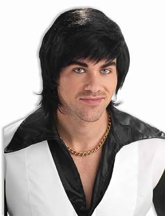 Forum Novelties Men's 70's Dude Disco Costume Wig, Black, One Size