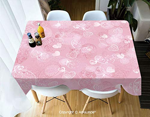 SUPFENG Light Pink Polyester Personalized Printed Durable Tablecloth Blurry Heart Icons with Flower Petals Inside Romantic Bridal Elegance Print for Indoor Outdoor Picnic Party