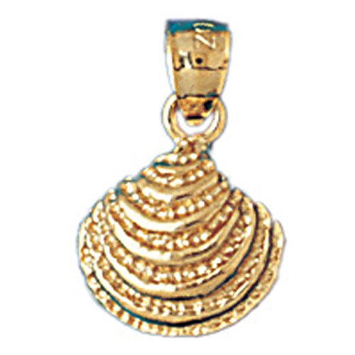 14K Yellow Gold Shell Pendant Necklace - 16 mm 14k Yellow Gold Shell