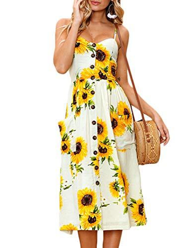 YOGINGO Womens Summer Dresses Floral Printed Spaghetti Strap Button Up Midi Dress with Pockets