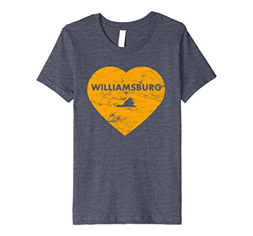 Kids Williamsburg Virginia Heart Premium Retro T-shirt 10 Heather - Williamsburg Premium