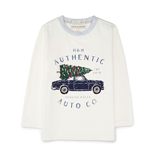 Hope & Henry Boys' White Christmas Tree Holiday Long Sleeve Graphic Top Made With Organic Cotton