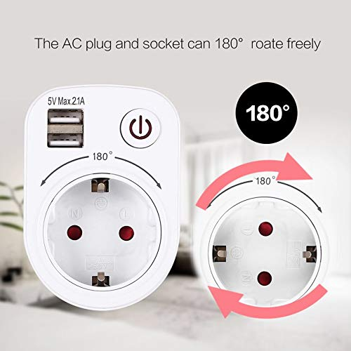 BianchiPatricia 5V 2.1A Electric Dual USB Charger Adapter EU Plug Wall Socket Charging Switch