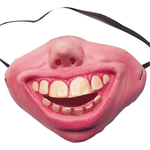 combnine Funny Half Face Big Teeth Grin Smile Latex Mask Clown Mask Fancy Dress Party Costume Halloween Party Decoration -