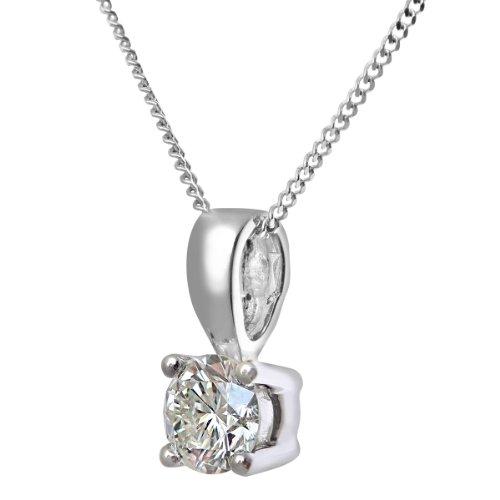 Revoni Bague en or blanc-18carats-Collier Femme-Pendentif Solitaire diamant 0,5carat, Diamant H/SI