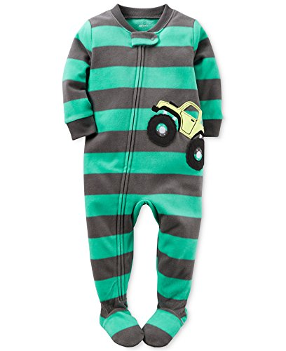 Carters Baby Boys 1 Pc Fleece Footed Pajamas (18 Months, Turquoise Truck)
