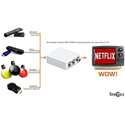 fireCable RCA to HDMI Adapter Converter for Classic TV's - Stream Any HDMI Streaming Media Player (Roku/Google Chrome/Amazon Fire TV Stick firestick tv Stick) Works w/TV Antenna Amplifiers