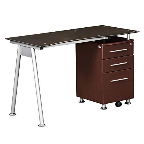 - Techni Mobili Tempered Glass Top Computer Desk in Chocolate