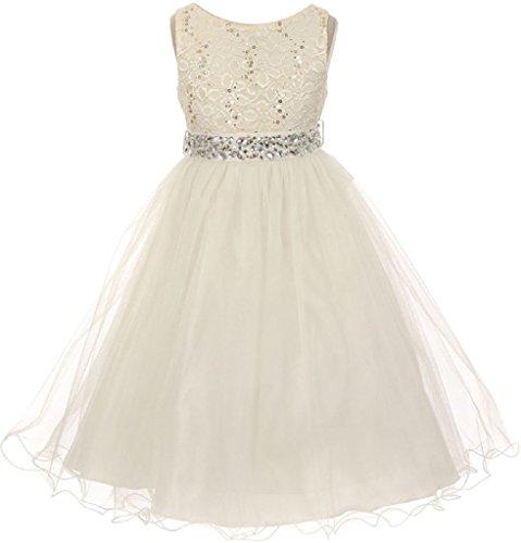 Little Girls Gorgeous Shiny Tulle Beaded Sequin Rhinestone Belt Flowers Girls Dresses Ivory 6 (M3B4K0) -