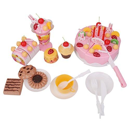 75pcs Gâteau d'anniversaire à Découper Jeu d'imitation de Cuisine Jouet Educatif Cadeau pour Enfants - Rose