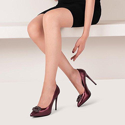 Zapatos Boca 5 Tamaño De 5 Alto Color tacón Tacones Zapatos Profunda Talón UK4 1 1 11cm CN37 De YIXINY Poco Finos Rhinestone de Sexy Zapatos Tacón Apuntado Mujer EU37 8qxAw6F