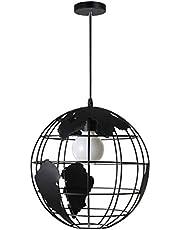 OSALADI Industriële Metalen Hanglamp Vintage Aarde Globe Kroonluchter Lamp Moderne Plafond Opknoping Licht Voor Slaapkamer Keuken Eiland Boerderij (Met 7W Lamp) Zwart