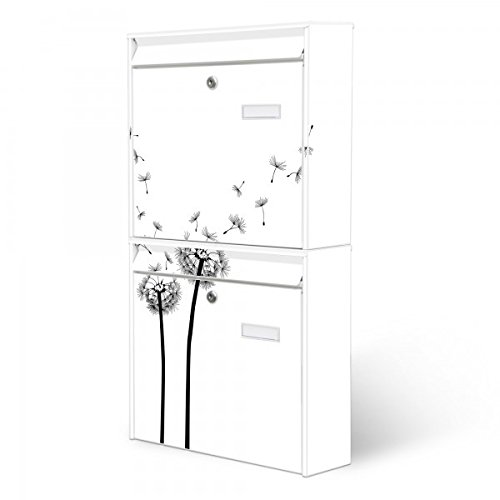Burg-Wächter Briefkastenanlage, Design Foto Postkasten, Stahlblech weiß, MAIL 5877 W 36x64x10cm mit Motiv Pusteblume 2