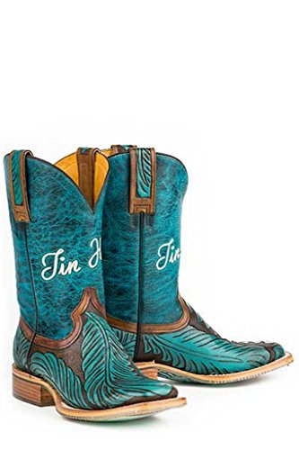 Tin Haul Womens Tribal Feathers Cowgirl Boot Square Toe Turquoise 5 M US kp0Vugsb