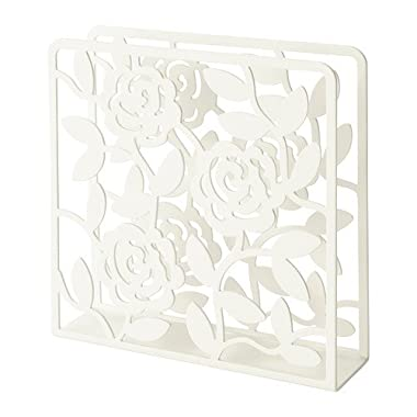 Ikea Napkin Holder White Floral Design, Steel