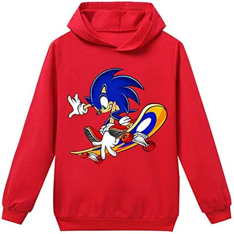 Amazon Com Shine Life Sonic The Hedgehog Long Athletic Hoodie For Teen Boys Cartoon Sweater Clothing