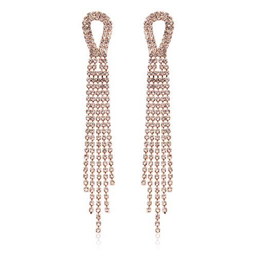 RIAH FASHION Sparkly Geometric Rhinestone Chandelier Hoop Statement Earrings - Cubic Zirconia Crystal Bridal Duster Dangles Fringe Tassel/Waterfall Drape/Circle Ring (Crystal Fringe Bow - Rose Gold) ()